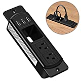 Conference Recessed Power Strip with Cable Management Slot,Desktop Power Grommet Power Strip With 2 Outlet & 3 USB Charging Ports