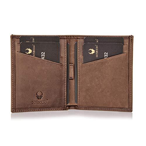 DONBOLSO® Geldbörse Bari Leder I Geldbeutel mit RFID Schutz I Portemonnaie für Herren und Damen I Slim Wallet I Braun