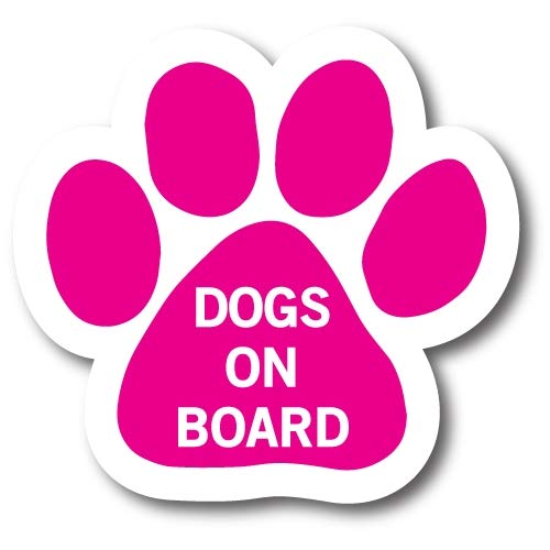 Magnet Me Up Dogs on Board Pink Pawprint Car Magnet Paw Print Auto Truck Decal Magnet