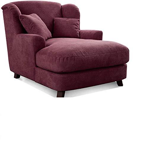Cavadore XXL-Sessel Assado / Großer Polstersessel mit Holzfüßen und großer Sitzfläche / Inkl. 2 Zierkissen / 109 x 104 x 145 / Webstoff Weinrot