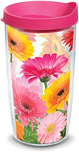 Tervis Gerbera Daisies Tumbler with Wrap and Fuchsia Lid 16oz, Clear