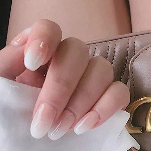 Jovono Falsche Nägel Hautton Weiß Farbverlauf Gefälschte Nägel Lange Kopfnägel Künstliche Vollabdeckung Quadratische Nägel für Frauen und Mädchen (24PCS)