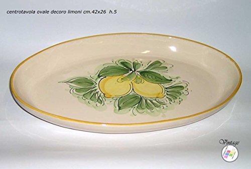 Vintage 70er Jahre Schüssel Teller Tablett oval Tischläufer Keramik maiolicata Italienische Handmade