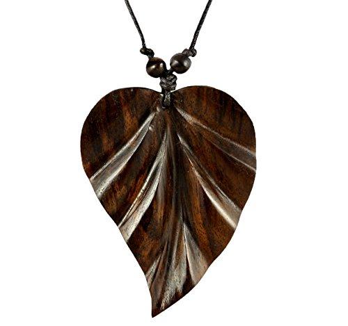 ISLAND PIERCINGS Halskette Anhänger Blatt aus Holz Handarbeit längenverstellbar N150