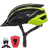 VICTGOAL Casco Bicicleta Adulto con Seguridad LED Luz Trasera Casco de Montaña para Hombres Mujeres Casco Bicicleta con Visera Desmontable 57-61 CM (Amarillo Negro)