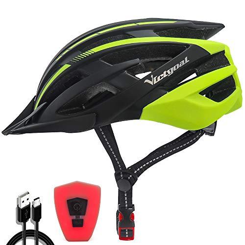 VICTGOAL Fahrradhelm mit Sicherheit LED Rear Light Mountain Bike Helm für Herren Damen Fahrradhelm mit Abnehmbares Visier Road Cycling Helm (Schwarz Gelb)