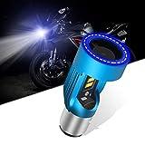 KaiDengZhe BA20D H6 Bombilla LED para Faros Delanteros de Motocicleta con Blue Angel Eye H6 Faro LED Alto/Bajo 12V 2600LM Reemplazo de la Lámpara Halógena H6 Blanco 6000K