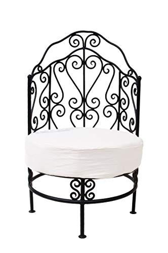Orientalischer Lounge Sessel Gartensessel aus Metall Andalous 60cm Groß | Marokkanischer Gartenstuhl Inkl. Sitzkissen Stuhlkissen | Mediterrane Gartenmöbel als Deko im Garten Terrasse oder Balkon
