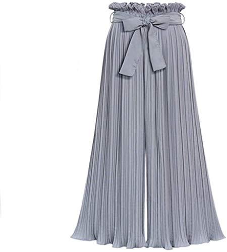 Hose Damen Plissee Hosen Weite Festlich Bekleidung Beine Lange Hose Breite Bein Culotte Freizeithosen Palazzo Hose Mit Gürtel (Color : Grau, Size : 4XL)