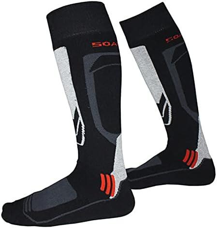 XJYWJ Men Women Winter Warm Thermal Ski,Cycling Skiing Soccer Socks, Thermosocks Leg Warmers Sock (Color : Black, Size : European 31 34)