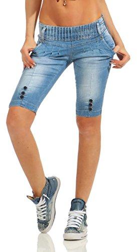 Fashion4Young 10900 Damen Jeans Bermuda Denim Shorts Kurze Hose Stretch Destroyed Baggy Bundfalten (blau, S-36)