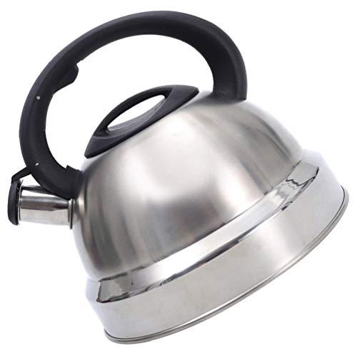 Cabilock Tetera de Té Silbadora 3L con Mango de Plástico Tetera de Fondo Plano Tetera de Acero Inoxidable Tetera Silbadora para El Hogar para Todas Las Cocinas de Gas Eléctrico de Plata