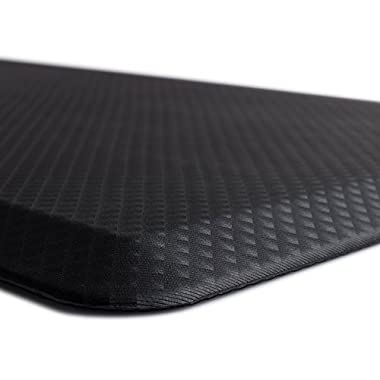 Kangaroo Brands Original 3/4  Anti-Fatigue Comfort Standing Mat Kitchen Rug, Phthalate Free, Non-Toxic, Waterproof, Ergonomically Engineered Floor Pad, Rugs for Office Stand Up Desk, 32x20 (Black)
