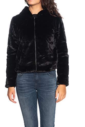 Only Onlchris Fur Hooded Jacket Otw Noos Giacca, Nero (Black Black), Medium Donna