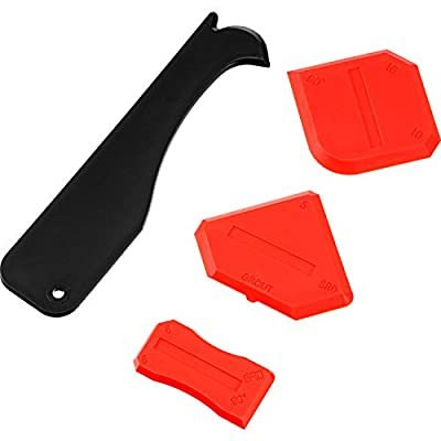 Outus 4 Pieces Sealant Tool Caulking Tool Kit for Bathroom Kitchen and Frames Sealant Seals (Black, Red)