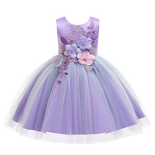 Janly Clearance Venta Vestido de Niña para 0-10 Años de edad, Floral Bebé Niña Princesa Dama de honor, Fiesta de Cumpleaños Vestido de Boda, morado, 11-12 años
