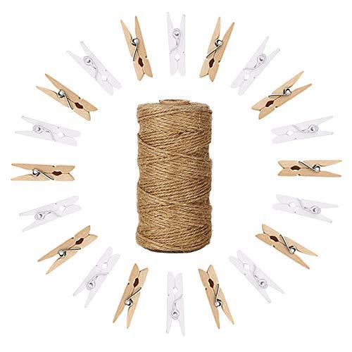 Aweisile 100 piezas Mini pinzas de madera con 100m cuerda para fotos para colgar fotos con pinzas decoración de pared de fotos de bricolaje madera manualidades oficina proyectos de jardinería