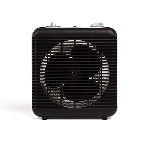 Kleine ventilatorkachel badkamer badkamer energiebesparend en ventilator kleine 2000 Watt 2 warmtestanden (mobiele elektrische verwarming, thermostaat, draaggreep, oververhittingsbeveiliging, zwart)