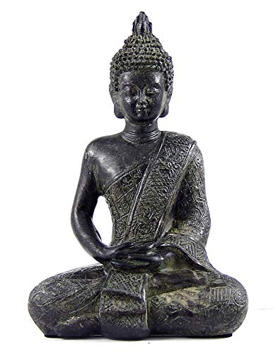 Bellaa Buddha Statue Sakyamuni Siting Meditating Blessing Dhayana Mudra Collectibles Handmade Sculpture Outdoor Garden Decoration House Warming Gift Figurines