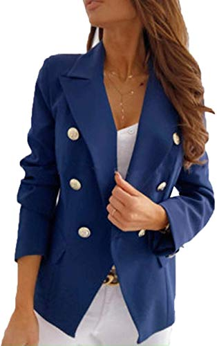 Cheokee Women One Button Blazer Double Breast Solid Office Outwear Slim Jacket Suit