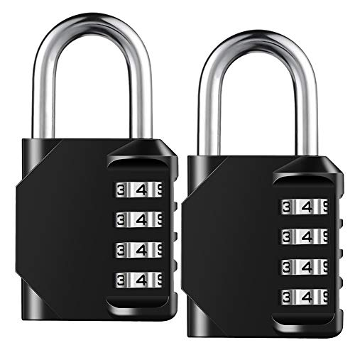 Combination Lock Resettable 4 Digit Padlock with Combination, AIHYTU Waterproof and Heavy Duty Combination Padlock Outdoor for School Gym Locker, Fence Gate, Toolbox, Employee Hasp Locker – 2 Pack