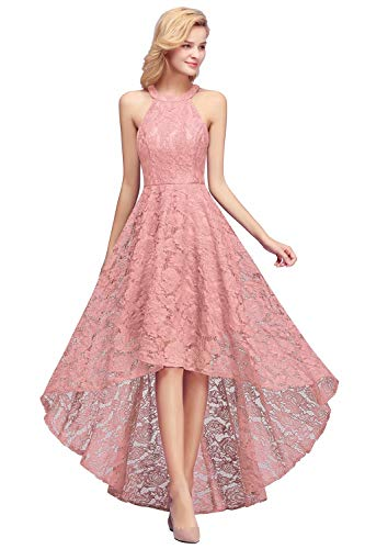 MisShow Damen Tanzkleid Ärmellos Partykleid Spitze Rockabilly Kleid Abschlussfeierkleid unter Knie 46
