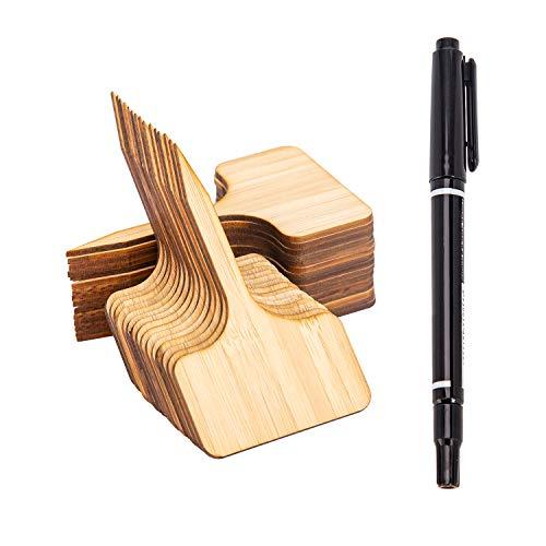 AIEX 30 Pezzi Marcatori di Piante in bambù Etichetta per Piante Marcatori a T in Legno per Piante in Vaso Accessori per Serre, Semi da Giardino - 10 x 6 cm