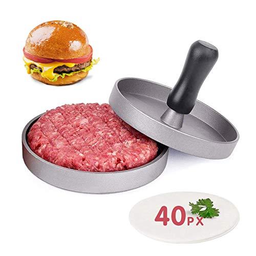 JINYJIA Burgers de Prensa, Molde para Hacer Hamburguesas, Aluminio con Revestimiento Antiadherente, Molde con 40 Hojas de Papel de Horno, Ideal para Barbacoa y Comida Rápida