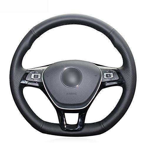 FANGPAN Lenkradabdeckung,für Volkswagen Golf 7 Mk7 Neuer Polo Passat B8 Tiguan Touran, Schwarze Kunstleder-Lenkradabdeckung