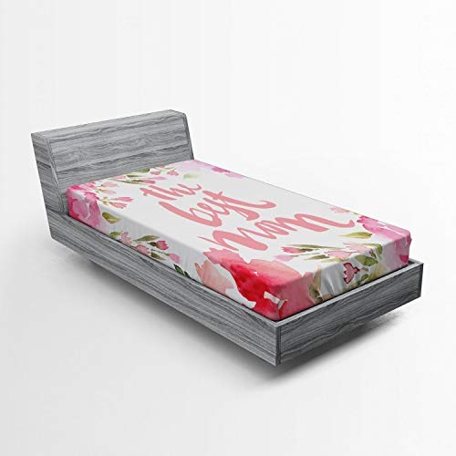 Lunarable Mothers Day Fitted Sheet, Frame of Watercolor Cornflower Buds and Peonies Best Mom Words, Bed Cover with All-Round Elastic Deep Pocket for Comfort, Twin XL Size, Pale Pink Green White