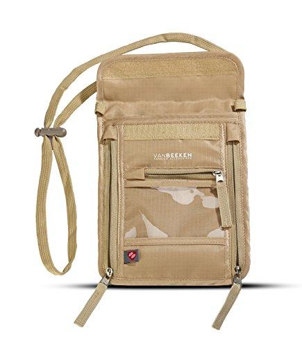Brustbeutel Brusttasche mit RFID-Blockierung für Damen Herren I wasserabweisend flach leicht I wasserdichter Umhängegeldbeutel Reisegeldbeutel Neck Pouch I VAN BEEKEN Reise-Pass-Tasche (Beige)