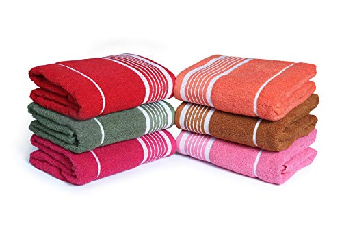 100% Cotton Bath Towels, Set of 6, Extra-Absorbent-Cotton, Size (27 X 54), Assorted Style & Multi-Color, Light Weight, Quick Dry Best for Everyday Use, Outings, Parties and Guests