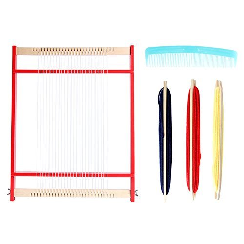 Moombike Colorful Wooden Weaving Loom Portable Multifunction Handmade Craft Kit with Yarns, Adjusting Rod, Comb and Shuttles include Detailed Instructions for Beginners and Kids (18x14x1 inches)
