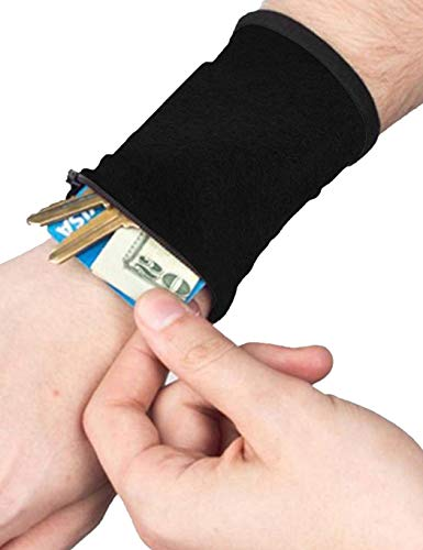 Idomeo Sports Thick Solid Stretchy Credit Cards Keys Wrist Wallets with Zipper Coin Purses & Pouches