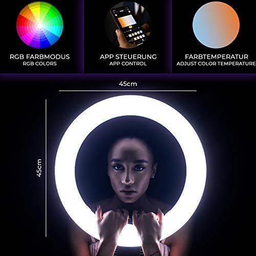 Rollei Lumen LED-Ringlicht I 90W RGB LED Ring-Leuchte für Make-Up, Selfie & Foto-Studio I App-Steuerung, 3200K-9999K, Betrieb per Akku & Netzteil