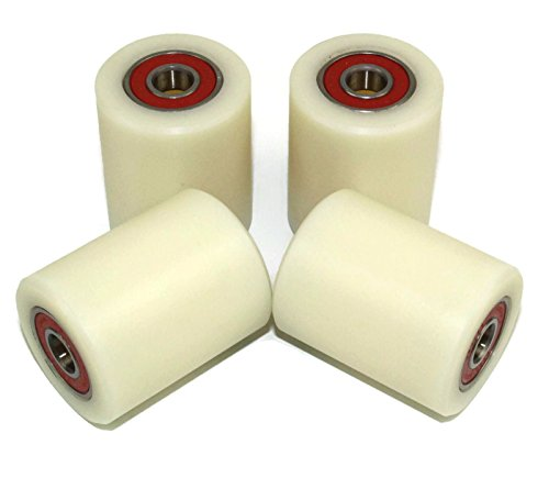 4 Pieces Nylon Polyamide Rollers 40 mm diameter 50 mm wide 10 mm bearing Precisely Machined (40-50-10)…