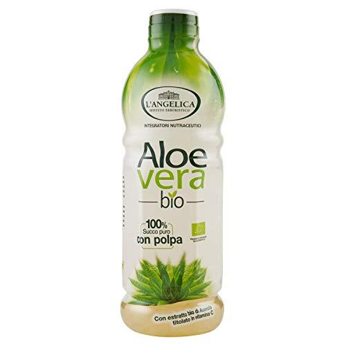 L'Angelica, Aloe Vera da Bere, Succo Puro e Polpa di Aloe Vera Bio con Vitamina C, Integratore Depurativo e Digestivo Senza Glutine, Vegan, 1 Litro