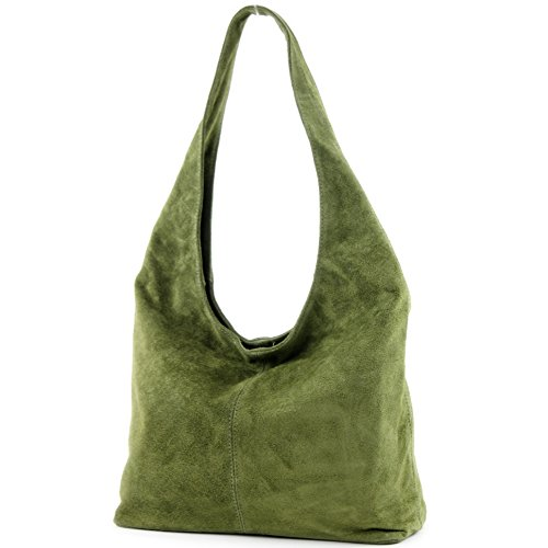 modamoda de - T150 - ital Schultertasche aus Leder Wildleder, Farbe:Olivgrün