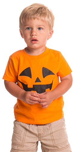 Little Boys' Pumpkin Face Jack O' Lantern | Cute Toddler Halloween T-shirt-2T Orange
