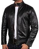 BRANDSLOCK Blouson Cuir Homme Vintage Moto Retro Designer Regardez (XS / (Fits Chest: 34-36 inches), Noir)
