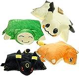 MQJ 4Pcs Pokemon Jeu Dessin Animé Mimikyu Umbreon Charmander Snorlax Pouce de Peluche Coussin Coussin Soft Coussin Pikachu Jouet Poupées 35Cm * 40Cm
