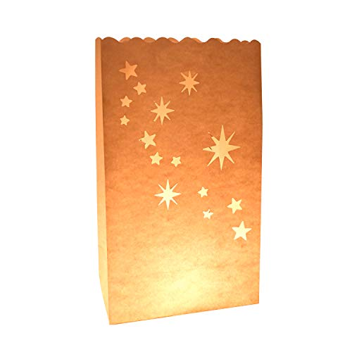 Christmas Lantern Bag - 24 Pack North Aurora Point Star Luminaries Flame Resistant Paper Bags for Tea Lights and Candles - Perfect for Christmas Decoration 6' x 10' x 3.5'