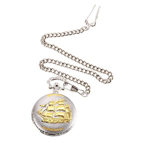 ZREAL Reloj de bolsillo de cuarzo con cadena dorada y diseño de velero