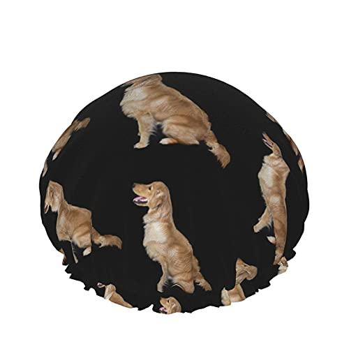 Golden Retriever - Gorro de ducha ajustable para perros, doble capa impermeable, protección del cabello, reutilizable para mujeres y hombres
