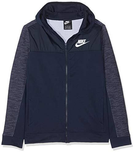 Nike Jungen B NSW FZ Advance Sweatshirt, Obsidian/White, XS