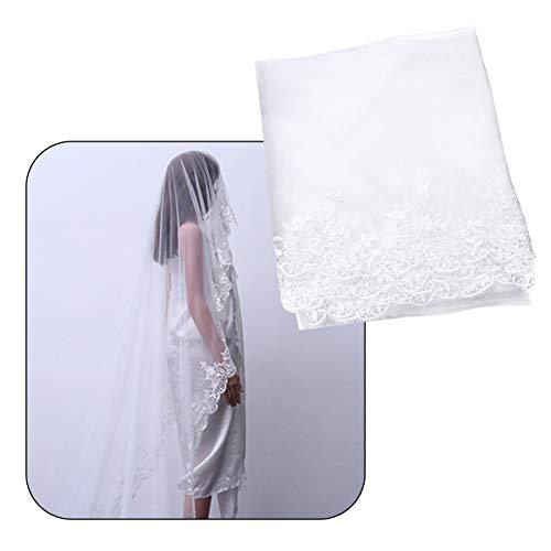 Frcolor 3 metres de long Voile de mariée élégant en dentelle de mariage Voile Blanc voile pour mariée Lady