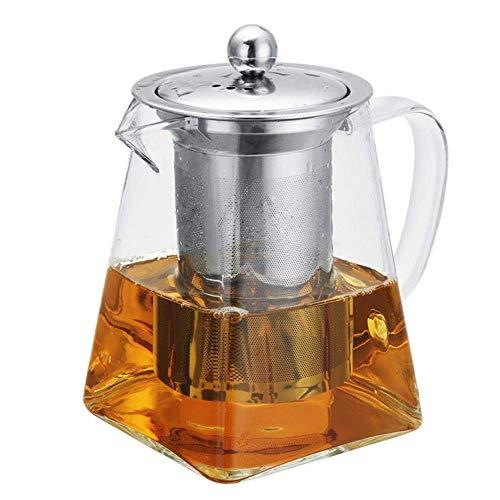 WXQ Tetera de Vidrio de 550 ml / 750 ml Tetera con Filtro de infusor de Acero Inoxidable Jarra de té Jarra Oficina en casa Herramientas de Bebida de té a Prueba de Calor, 550 ml