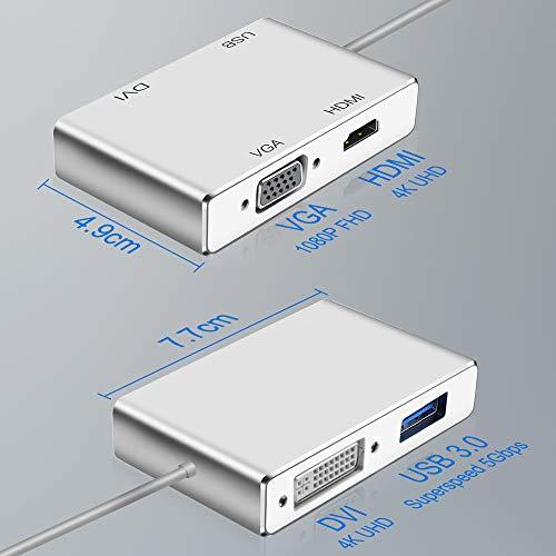 Typ C zu HDMI 4K Adapter, Weton USB 3.1 USB C auf HDMI VGA DVI USB 3.0 USB HUB Multiport Videokonverter für MacBook/MacBook Pro/Chromebook Pixel/Samsung Galaxy S8/S8P zu HDTV/Monitore/Projektor