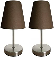 All The Rages LT2013-BWN-2PK Simple Designs Sand Nickel Mini Basic Table Lamp with Fabric Shade 2 Pack Set44; Brown