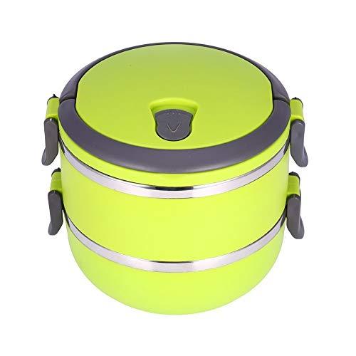 Yosoo, portapranzo portatile, in acciaio inossidabile, con isolamento interno, anti-perdite, 1/2/3 scomparti, con manico, contenitore per alimenti, Acciaio INOX, verde, 2 Layer